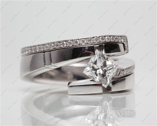 White Gold 1.02 Princess cut Engagement Ring