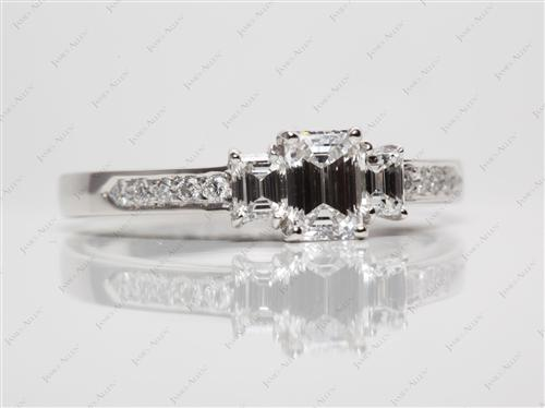Platinum 0.77 Emerald cut Diamond Rings