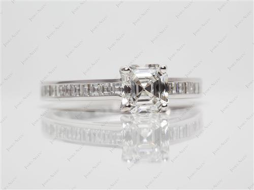 White Gold 1.02 Asscher cut Channel Set Engagement Ring