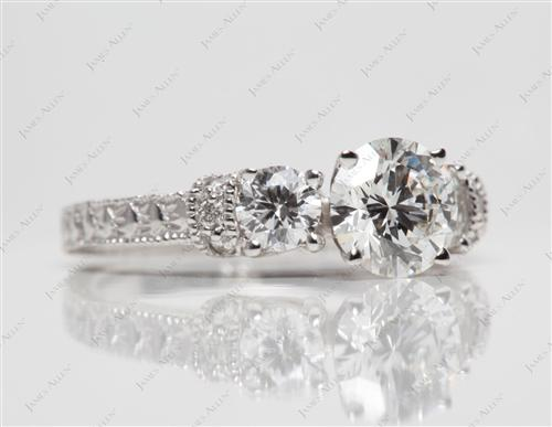 White Gold 1.01 Round cut Side Stone Engagement Rings