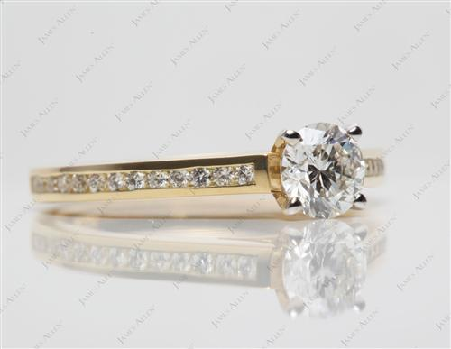 Gold 0.64 Round cut Channel Set Diamond Engagement Rings