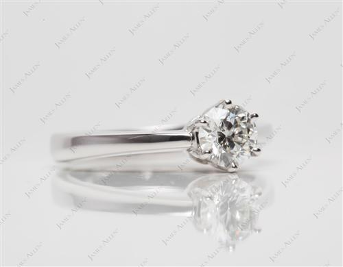 White Gold 0.44 Round cut Diamond Solitaire Ring Settings
