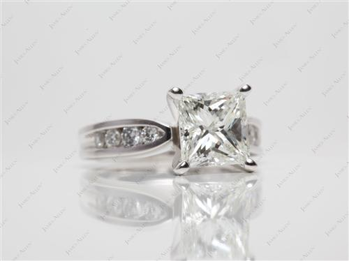 White Gold 1.86 Princess cut Channel Set Engagement Ring