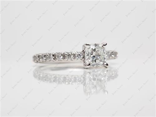 Platinum 0.70 Cushion cut Pave Engagement Ring