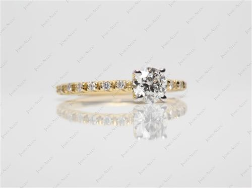 Gold 0.42 Round cut Engagement Rings Pave