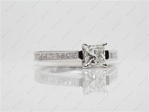 White Gold 0.71 Princess cut Channel Setting Ring