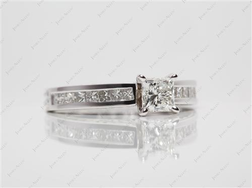 White Gold 0.60 Princess cut Channel Ring