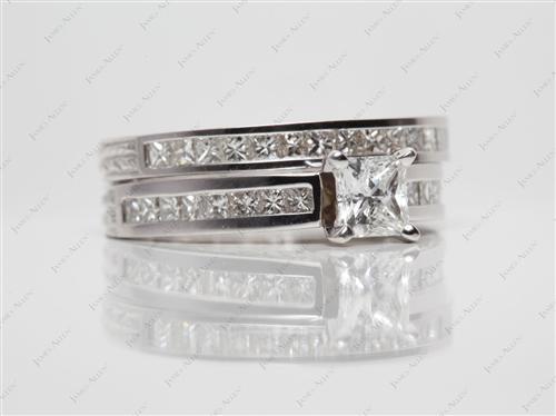 White Gold 0.60 Princess cut Diamond Wedding Rings