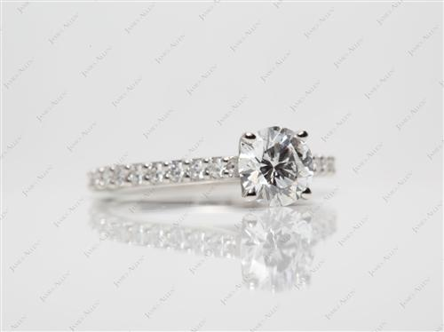 Platinum 0.81 Round cut Engagement Ring With Side Stones