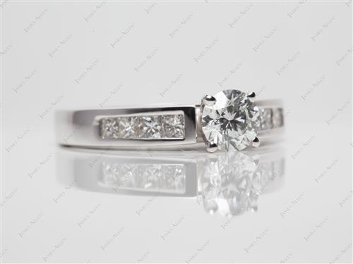 White Gold 0.60 Round cut Engagement Rings Side Stones