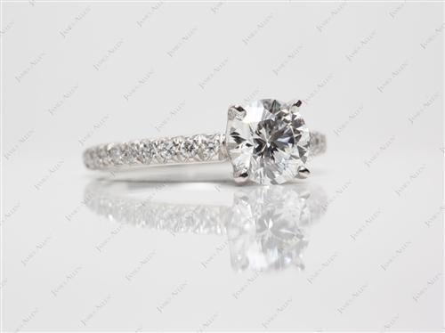 Platinum 0.90 Round cut Pave Ring