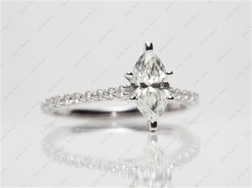 White Gold 1.01 Marquise cut Engagement Ring