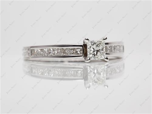 White Gold 0.50 Princess cut Channel Rings