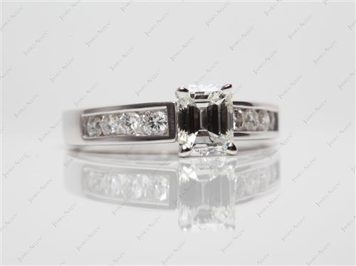 White Gold 0.90 Emerald cut Side Stone Engagement Ring