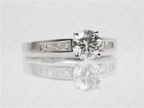 White Gold 1.27 Round cut Engagement Rings With Sidestones