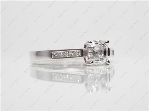 White Gold 1.01 Asscher cut Diamond Channel Ring