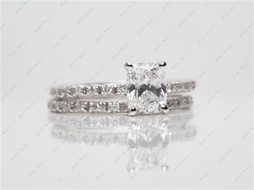 White Gold 1.01 Cushion cut Matching Wedding Sets