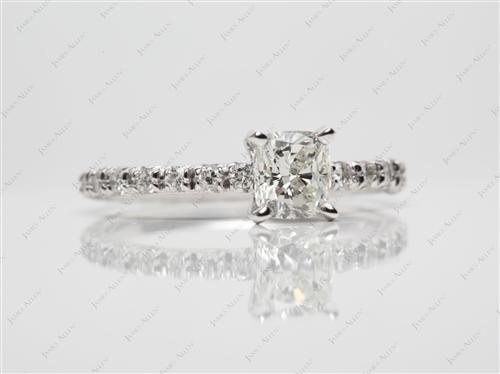 White Gold 0.70 Cushion cut Engagement Ring Micro Pave