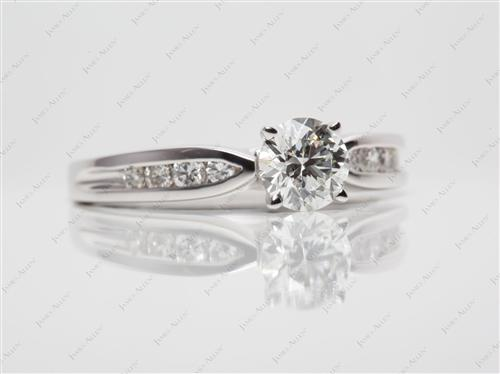 White Gold 0.82 Round cut Channel Engagement Rings