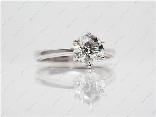 White Gold 1.20 Round cut Round Solitaire Ring