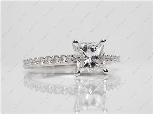 Platinum 1.27 Princess cut Engagement Ring Side Stones