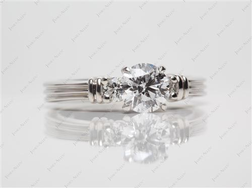 Platinum 0.90 Round cut Engagement Rings With Side Stones