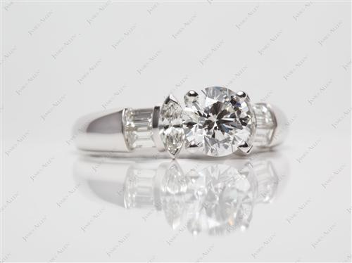 White Gold 1.10 Round cut Engagement Rings With Side Stones
