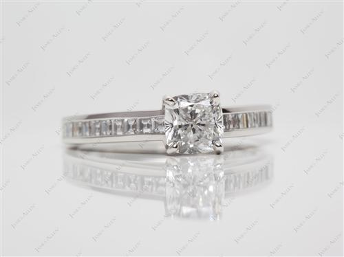 Platinum 1.01 Cushion cut Channel Engagement Rings