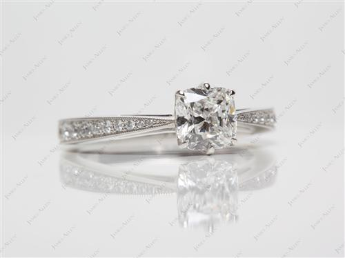 Platinum 1.01 Cushion cut Pave Diamond Ring