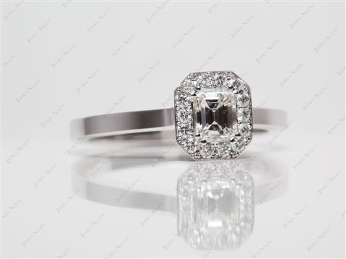 White Gold 0.51 Emerald cut Pave Diamond Rings