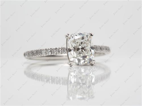 Platinum 1.57 Cushion cut Diamond Pave Rings