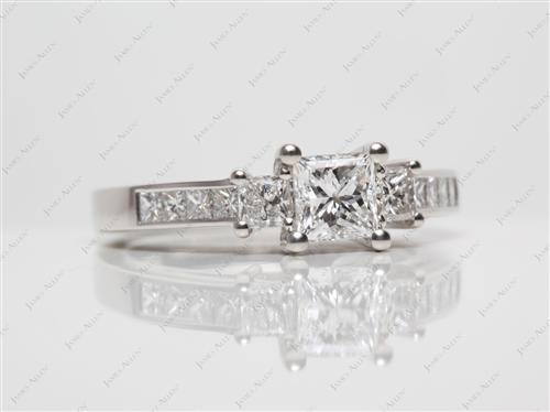 Platinum 0.74 Princess cut Engagement Ring With Side Stones