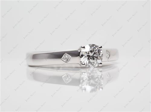 White Gold 0.53 Round cut Diamond Solitaire Ring Settings
