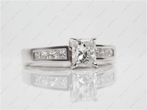 White Gold 0.96 Radiant cut Engagement Rings With Sidestones