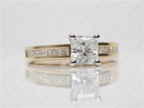 Gold 1.05 Radiant cut Channel Set Diamond Engagement Ring