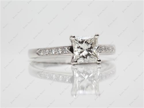 Platinum 1.05 Princess cut Diamond Pave Ring