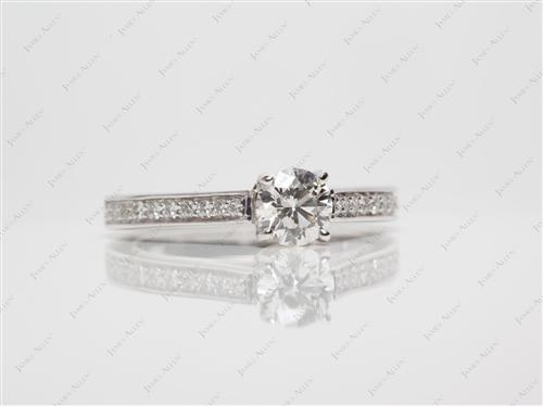 White Gold 0.52 Round cut Micro Pave Rings