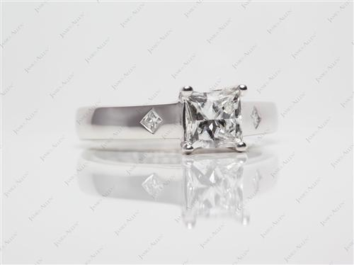 Platinum 1.00 Princess cut Solitaire Ring Mountings