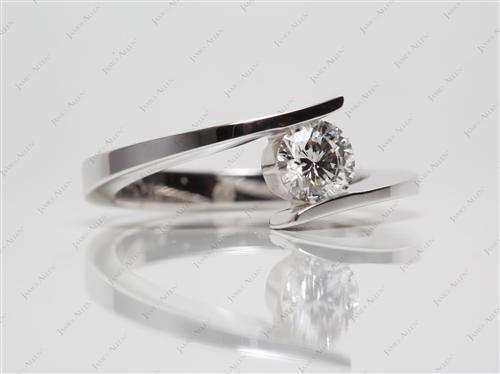 White Gold 0.52 Round cut Engagement Rings