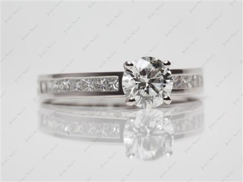 Platinum 0.90 Round cut Channel Set Engagement Rings