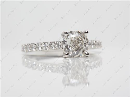 Platinum 1.51 Cushion cut Diamond Ring