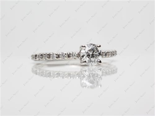 Platinum 0.40 Round cut Micro Pave Ring