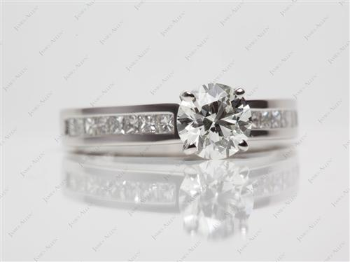 Platinum 1.06 Round cut Diamond Channel Rings