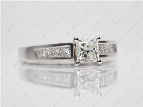 White Gold 0.64 Princess cut Wedding Ring Sets
