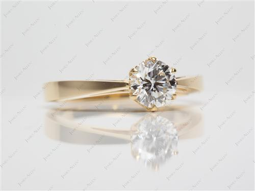 Gold 0.80 Round cut Solitaire Ring