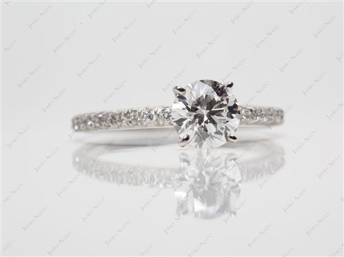 Platinum 1.01 Round cut Pave Ring Settings