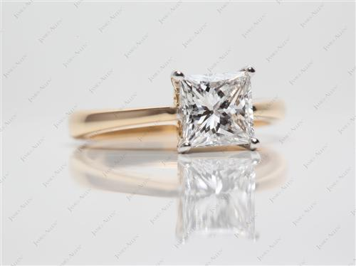 Gold 1.31 Princess cut Diamond Ring