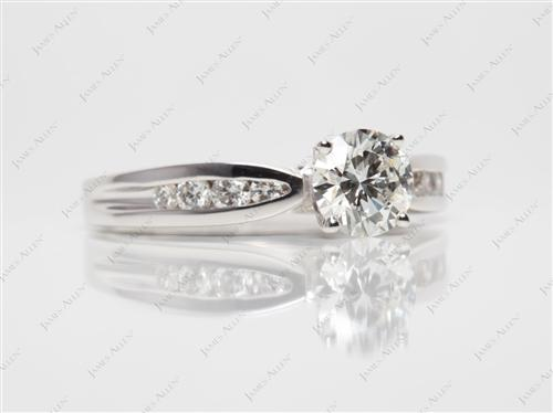 White Gold 0.90 Round cut Channel Set Diamond Ring