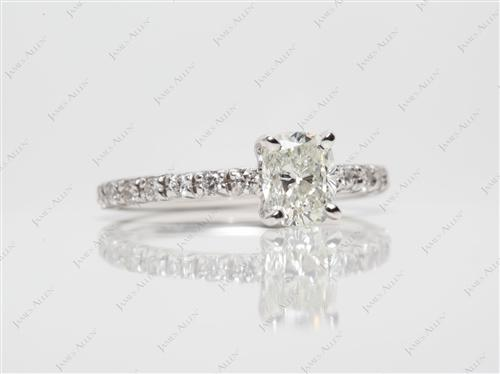 White Gold 0.91 Cushion cut Engagement Ring Micro Pave