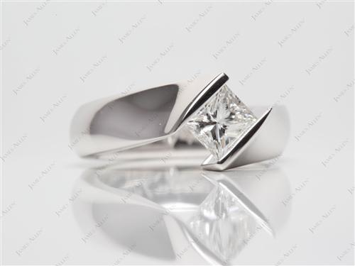 Platinum 1.04 Princess cut Diamond Rings